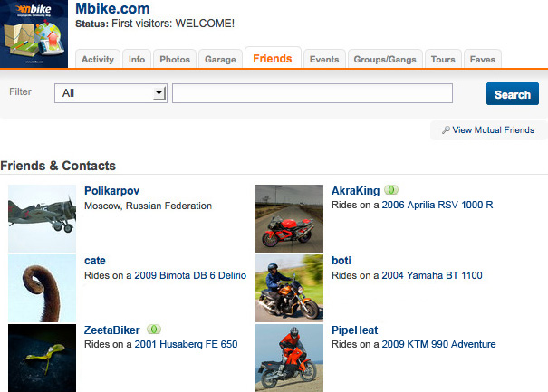 Mbike firend page screenshot