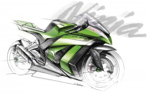 The 2011 ZX-10R will receive the big piston fork of the ZX-6R