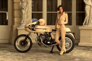 Keira Knightley and the vintage Ducati 750 Sport