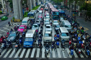 Lane splitting in Bangkok, Thailand